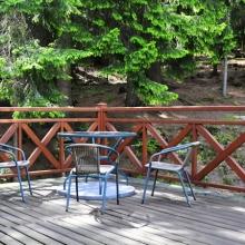 Taras w pokoju trzyoswobowym nr 7 - widok na las i paśnik dla saren